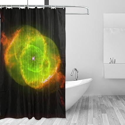 Unique Green And Orange Cat Eye Nebula Shower Curtain Soft Fabric Single Sided Printing Waterproof