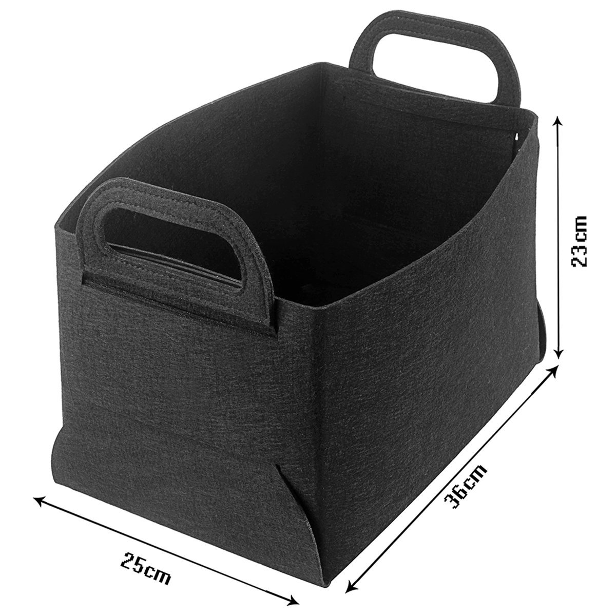 Collapsible Storage Bin Basket Organizing Box Closet Organizer with Handles for Office, Bedroom, Toys, Laundry (Black)