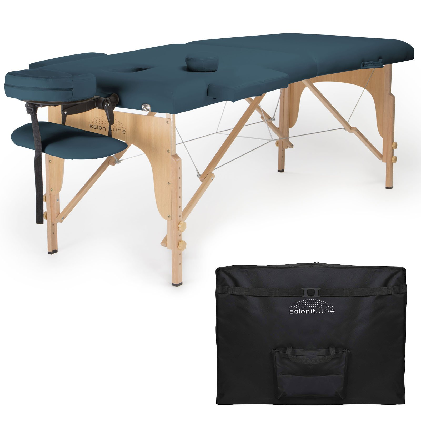 Saloniture Professional Portable Folding Massage Table with Carrying Case - Blue by Saloniture