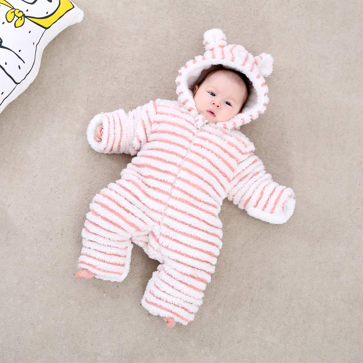 QSEFT: bebé recién Nacido Invierno cálido Pelele bebé Rayas Coral Polar Sudaderas para bebé recién Nacido sueño Suave 1 - 18 Meses, Rosa, 59: Amazon.es: ...