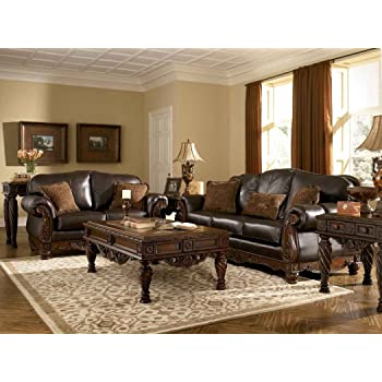 Ashley North Shore Leather Sofa In Dark Brown