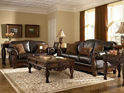 Amazon Com Ashley North Shore Leather Sofa In Dark Brown Kitchen