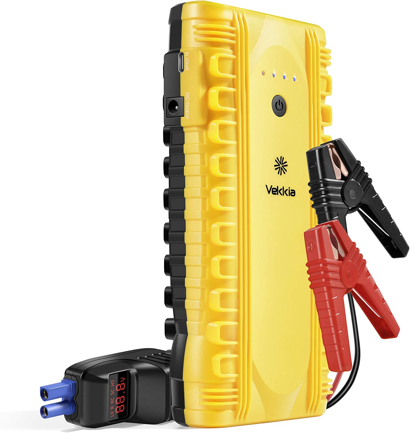 VEKKIA 1500A Peak Car Jump Starter Portable with QDSP (Up to 8.0L Gas or 6.5L Diesel Engine),12V Auto Battery Booster Power Pack with LCD Display Smart Jumper Cables, Case, QC 3.0 and LED Light
