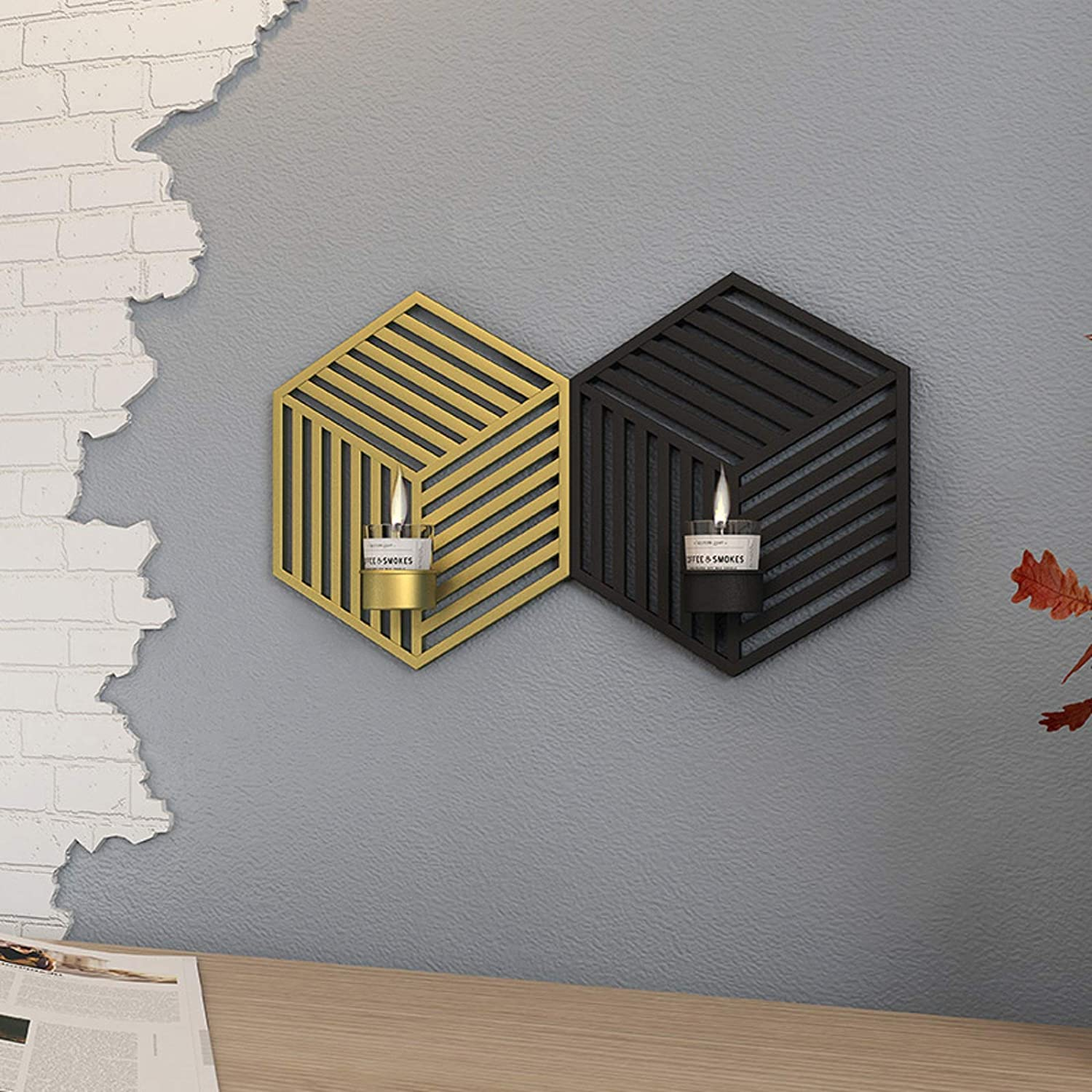 Domi-in Wall décor Home Decorations Living Room Decorations for Wall Decor Gold Black Candle sconces Holder for Wall Set of 2