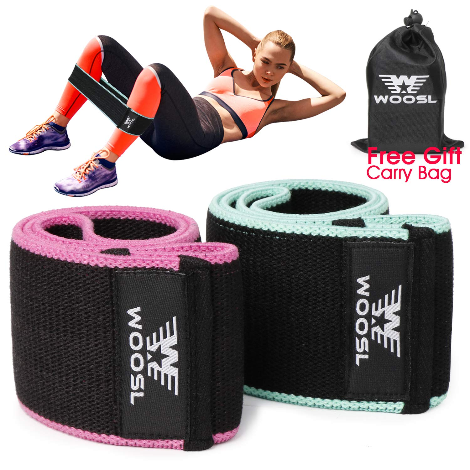 WOOSL Resistance Exercise Bands for Legs and Butt, Hip Bands Booty Bands Workout Wide Bands Sports Fitness Bands Stretch Resistance Loops Band Anti Slip Elastic(2PACK) by WOOSL