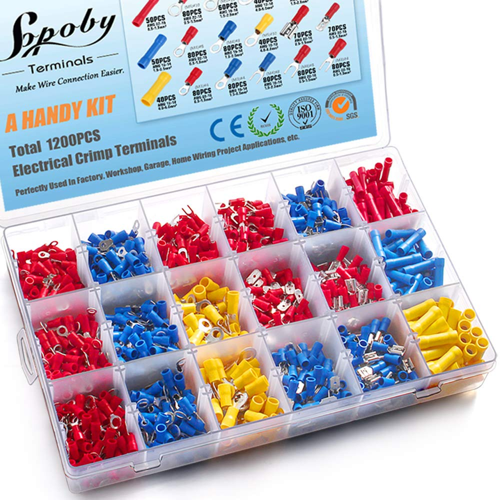1200pcs Electrical Connectors, Sopoby Insulated Crimp Terminals, Mixed Assorted Lug Kit Ring Fork Spade Butt Connector Set by Sopoby
