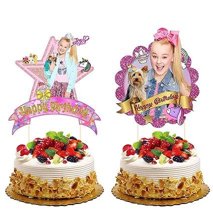 2 Pack Jojo Bow Cake Topper,Jojo Cupcake toppers Birthday Party Decoration  for Kids
