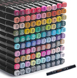 100 Colors Alcohol Markers Art Markers for Drawing Professional Dual Tips Blender Markers Permanent Marker for Adults & Kids,Alcohol Based Markers Sketch Markers for Painting, Sketching(with base)