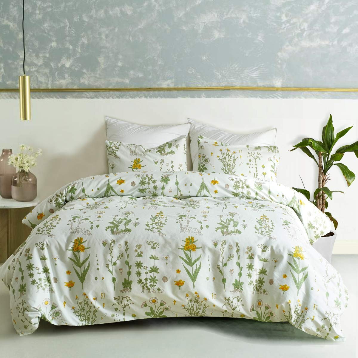 3 PCs Botanical Duvet Cover Set, Modern Flowers Printed Boho Comforter Cover Bedding Sets with Zipper Ties by Smoofy (Image #3)