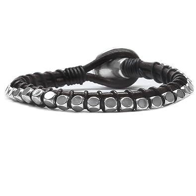 Beau Soleil Jewelry Schmuck Armband aus echtem Leder Damen Herren  Lederarmband Braun oder Schwarz (18 e3bcf193f6