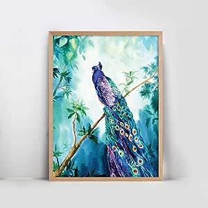 Peacock Natural Frame Wall Art