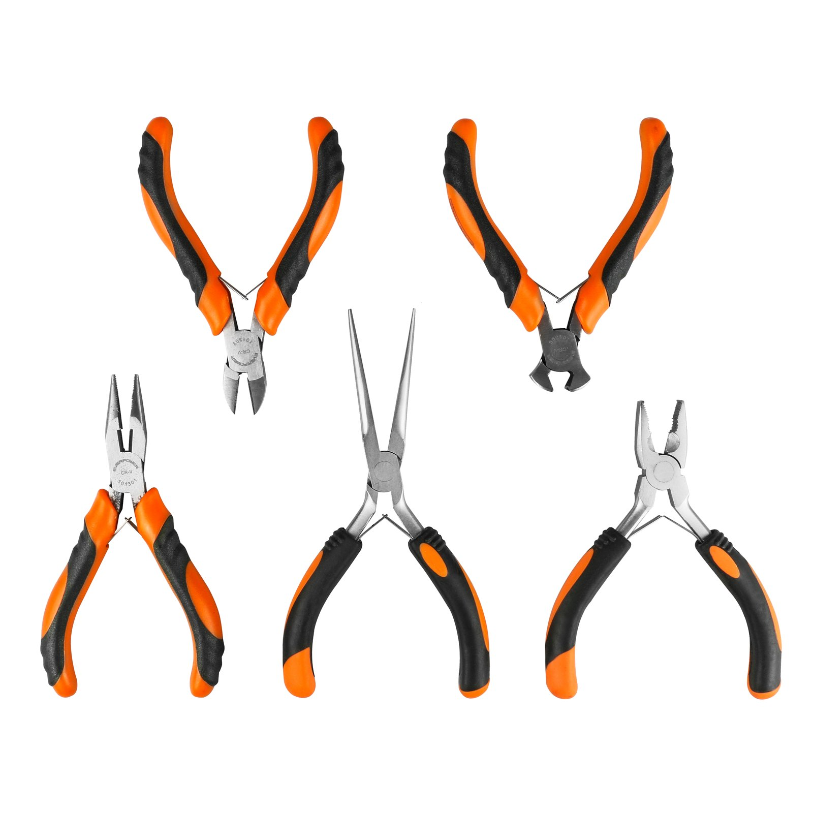 Mini Precision Pliers Set,5PCS 4.5inch Mini Pliers Set Pliers Diagonal Side Cutting Pliers Cable Wire Cutter Repair Pry Open Tool DIY Tool (5-piece Clamp) by MRCARTOOL (Image #1)