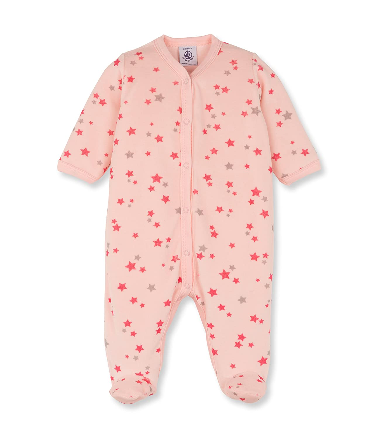 Petit Bateau Baby Girls Front Snap Footie Baby