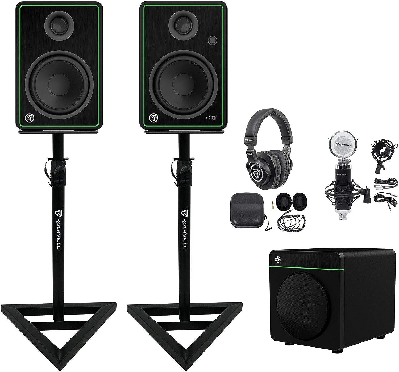 Mackie CR5-X 5 Studio Monitors+8 Sub+Headphones+Mic+Stands Studio Kit w// 2