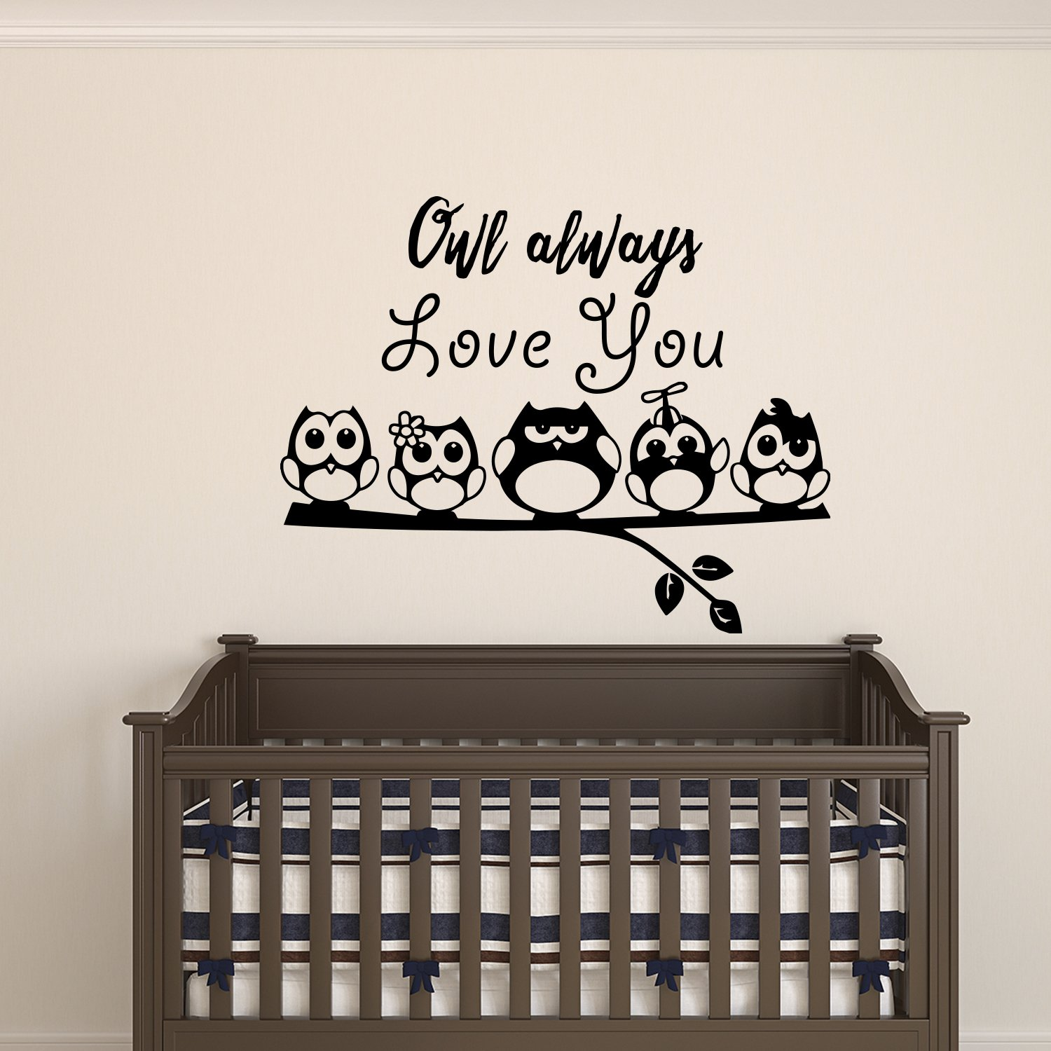 OWL Wall Decal Sticker 23 Wide 40 Tall in White or Black