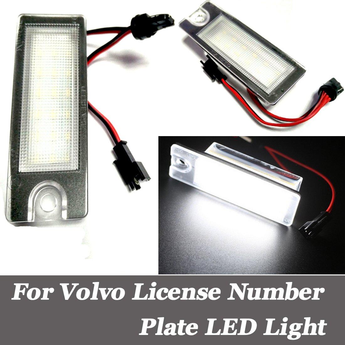 For S60 S80 V70 Xc70 Xc90 License Plate Lights Dc12v Waterproof Car 2001 Volvo Battery Location Led Number Lamp 2packs Motorbike