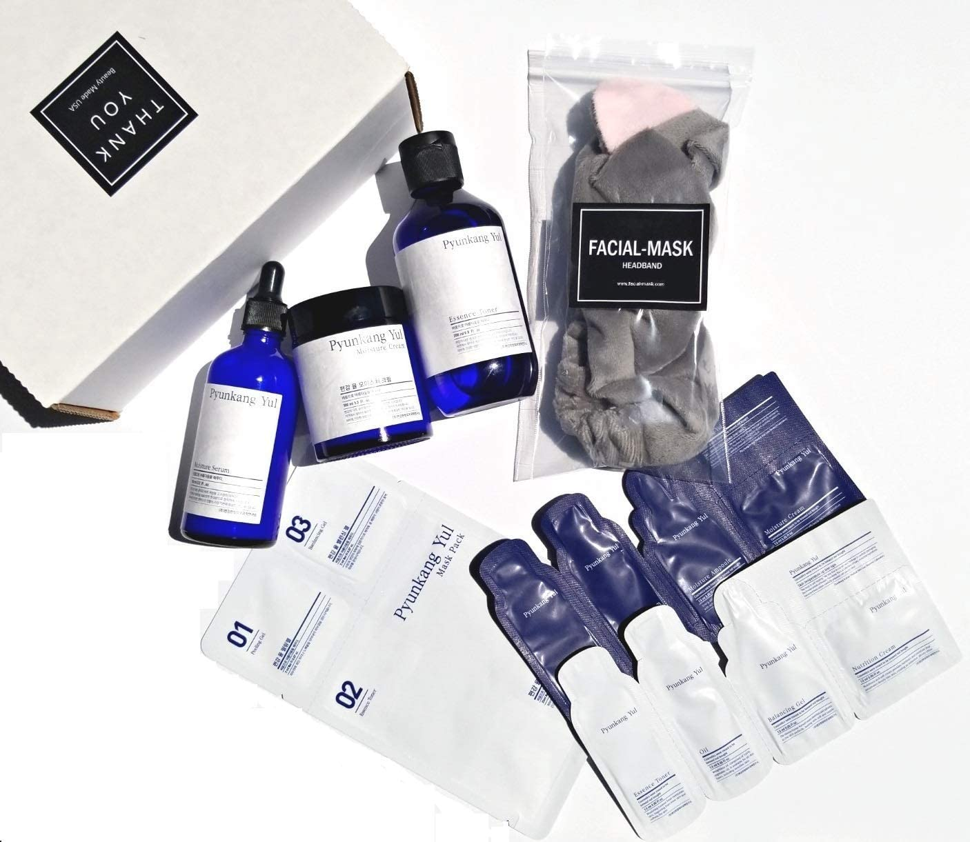 Pyunkang yul Gift Set with Essence Toner + Moisture Serum + Moisture Cream + (All Full Size in Gift Box as the Photo) Comes with FACIAL-MASK Headband + 1 Mask + 2 Sample Kits