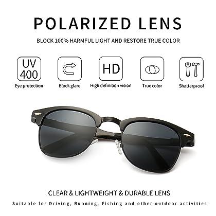 5a043b7d09a4 ... SUNGAIT Classic Half Frame Clubmaster Sunglasses with Polarized Lens ...