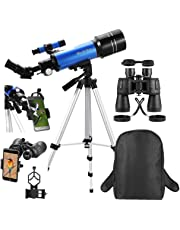 MaxUSee Travel Scope with Backpack - 70mm Refractor Telescope & 10X50 Full-size HD Binoculars for Moon Viewing Bird Watching Sightseeing