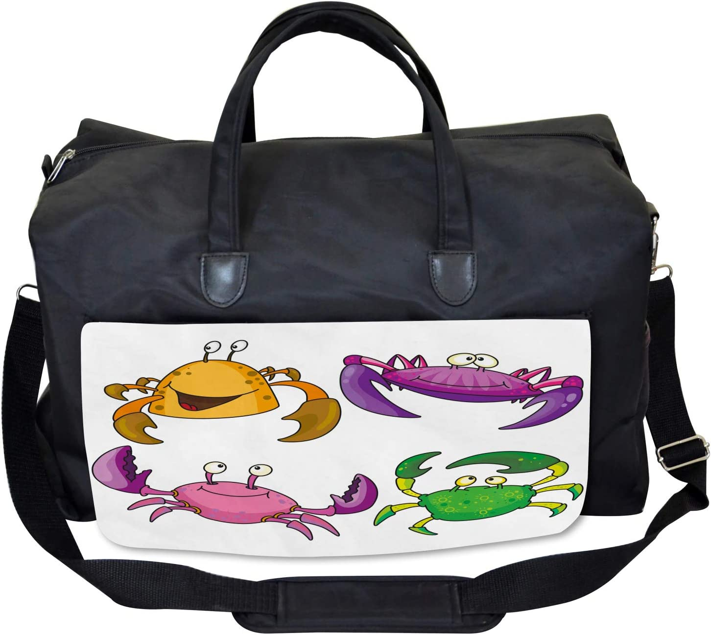 Ambesonne Cartoon Gym Bag Large Weekender Carry-on Funny Crabs Pattern