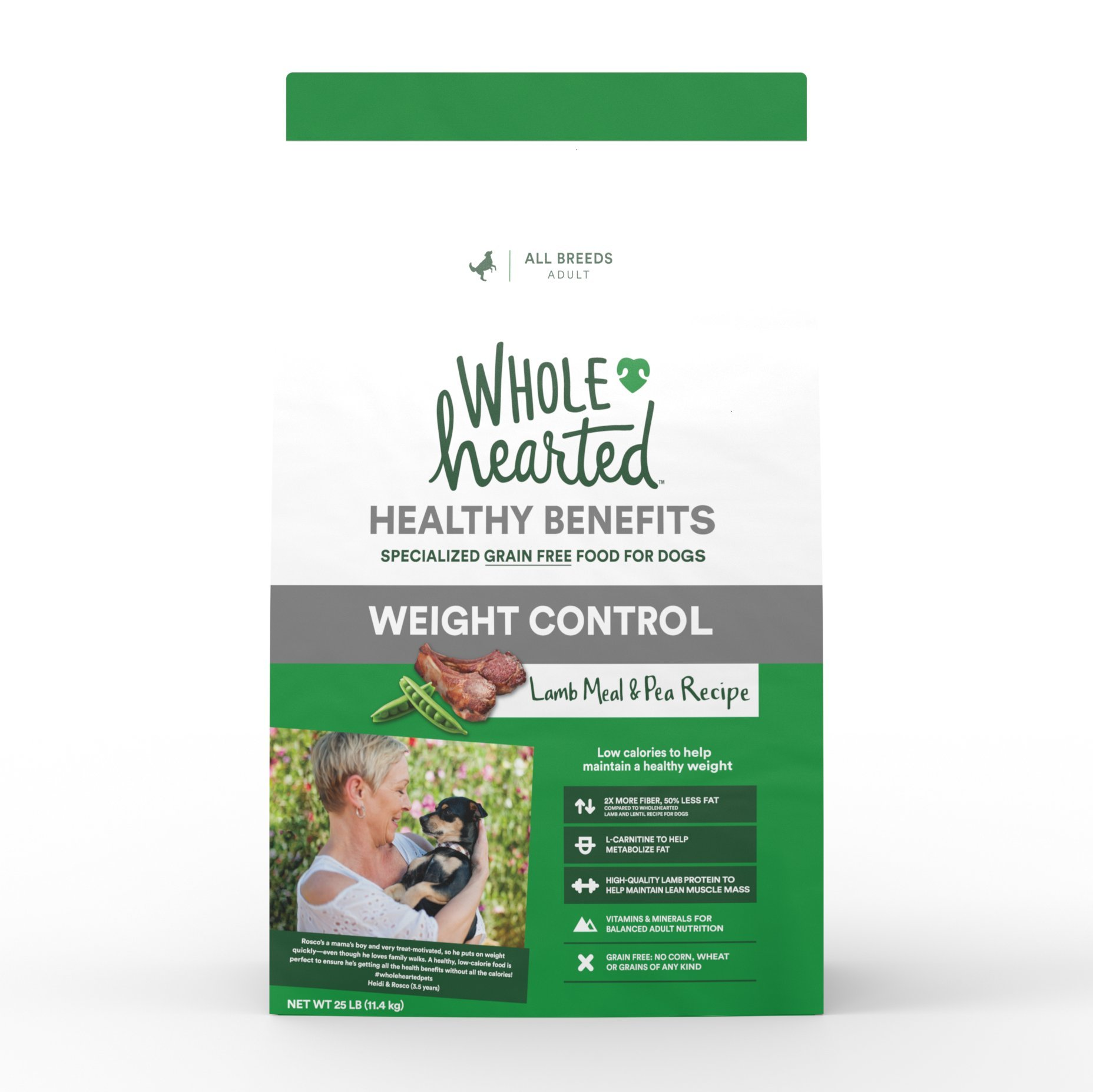 WholeHearted Healthy Benefits Weight Control Lamb and Pea Recipe Dry Dog Food, 25 lbs. by WholeHearted