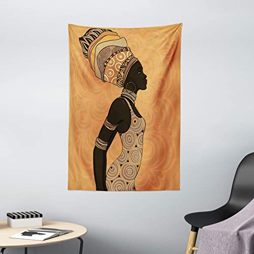 Ambesonne African Tapestry, Indigenous People of Theme Local Woman in Traditional Turban and Dress, Wall Hanging for Bedroom Living Room Dorm Decor, 40 X 60 , Persian Orange