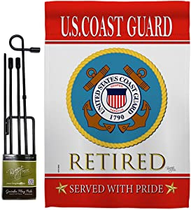 Breeze Decor US Coast Guard Garden Flag Set with Stand Armed Forces USCG Semper Paratus United State American Military Veteran Retire Official House Banner Small Yard Gift Double-Sided, Made in USA