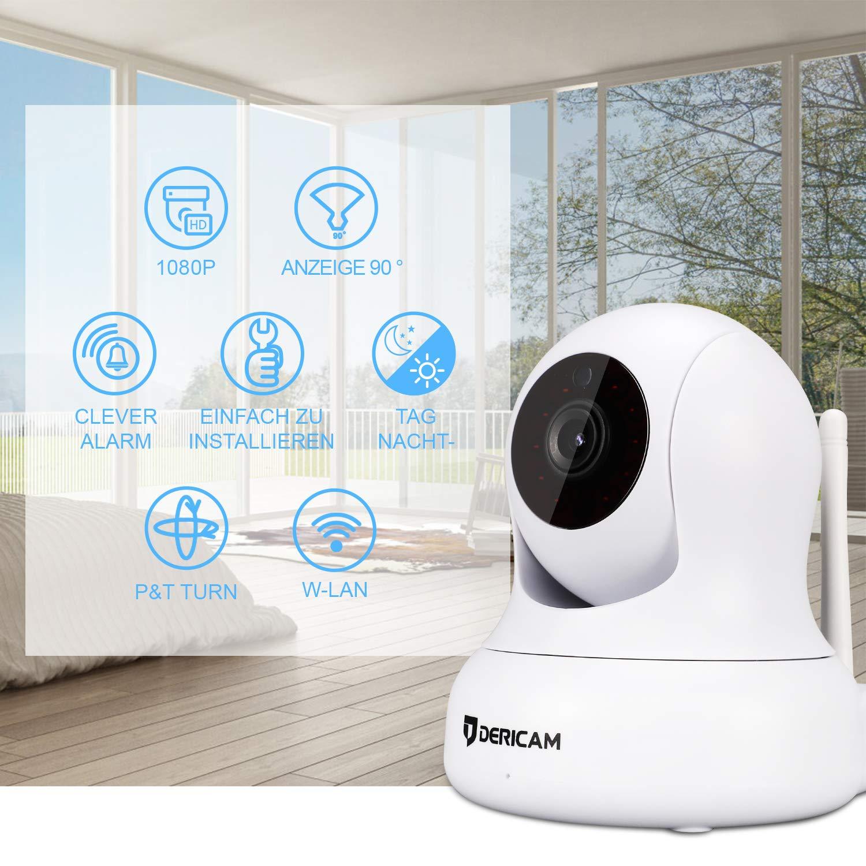 Cámara de Seguridad WiFi 1080P, Pan/Tilt, Zoom Digital 4X, Visión Nocturna y conversación bidireccional, Monitor para Mascotas de bebé, Antena WiFi ...