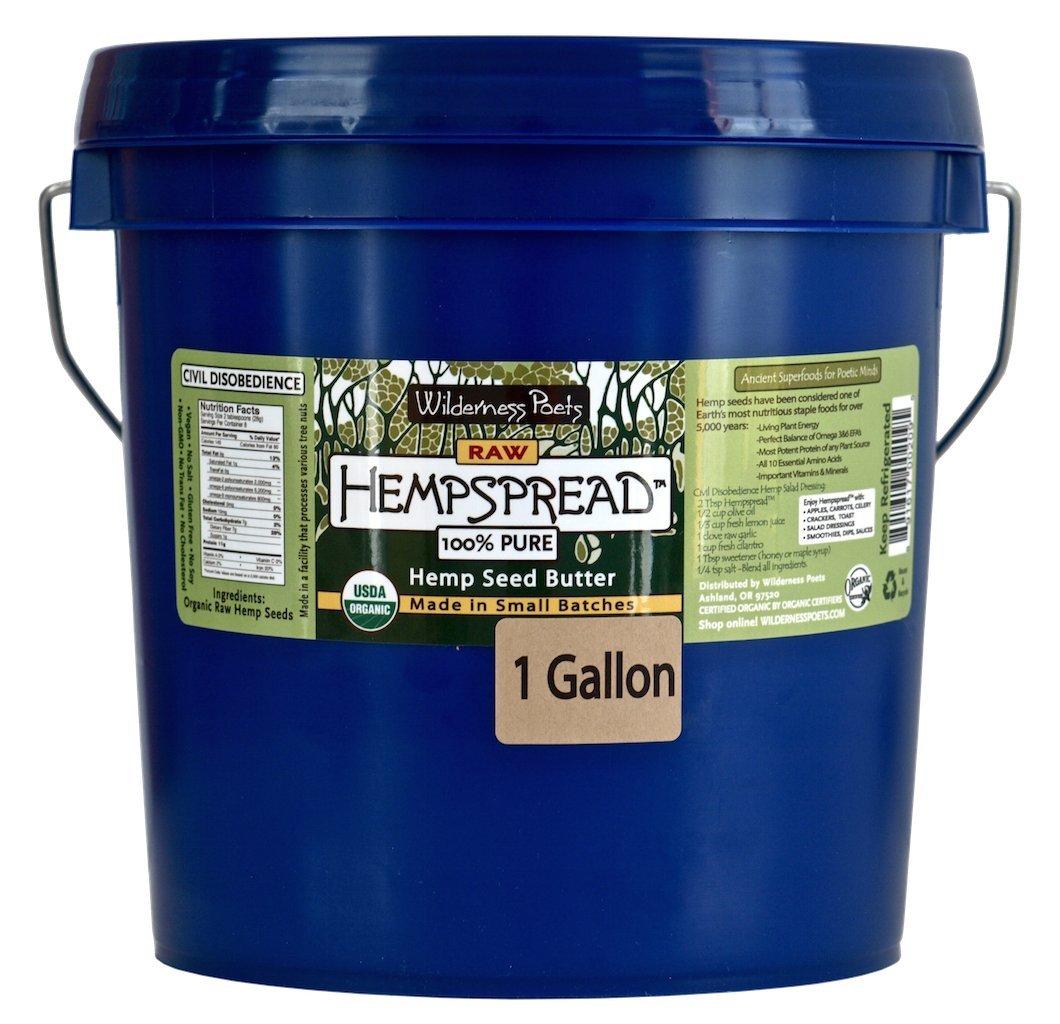 Wilderness Poets 100% Pure Hempspread (Organic Hemp Seed Butter) - Bulk Seed Butter - 1 Gallon (128 Oz)