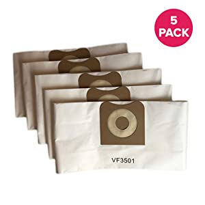 "Crucial Vacuum Replacement Allergen Bags Part # VF3501 - Compatible with Rigid Models WD40500, WD40700, WD40501, WD45500, WD45220-3 - 4.5 Gallon Bag for Vacuums - 11.2"" X 7.9"" X 2"" - Bulk (5 Pack)"