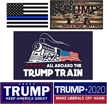 Trump Bumper Sticker for Presidential Election QSUM Trump 2020 Sticker 10 Pcs Five Different Sticker Designs Paper Sticker Limited Time Offer