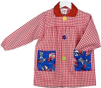 KLOTTZ - Babi guardería con bolsillos de tela Spiderman. Bata colegial Niñas
