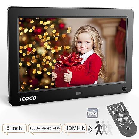 ICOCO 1080P FHD Marco Digital IPS Pantalla Marco de Fotos Digital Marco Digital (8 Pulgadas