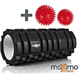 Maximo Fitness Foam Roller - Rouleau Massage - 14cm * 33cm - Instructions en Français.