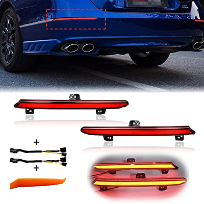 PGONE Smoked Lens Rear Bumper Reflector Brake Tail Sequential Flash Singal Lights Lamp For 2020-2020 Honda Accord 10th (Red Lens): Automotive