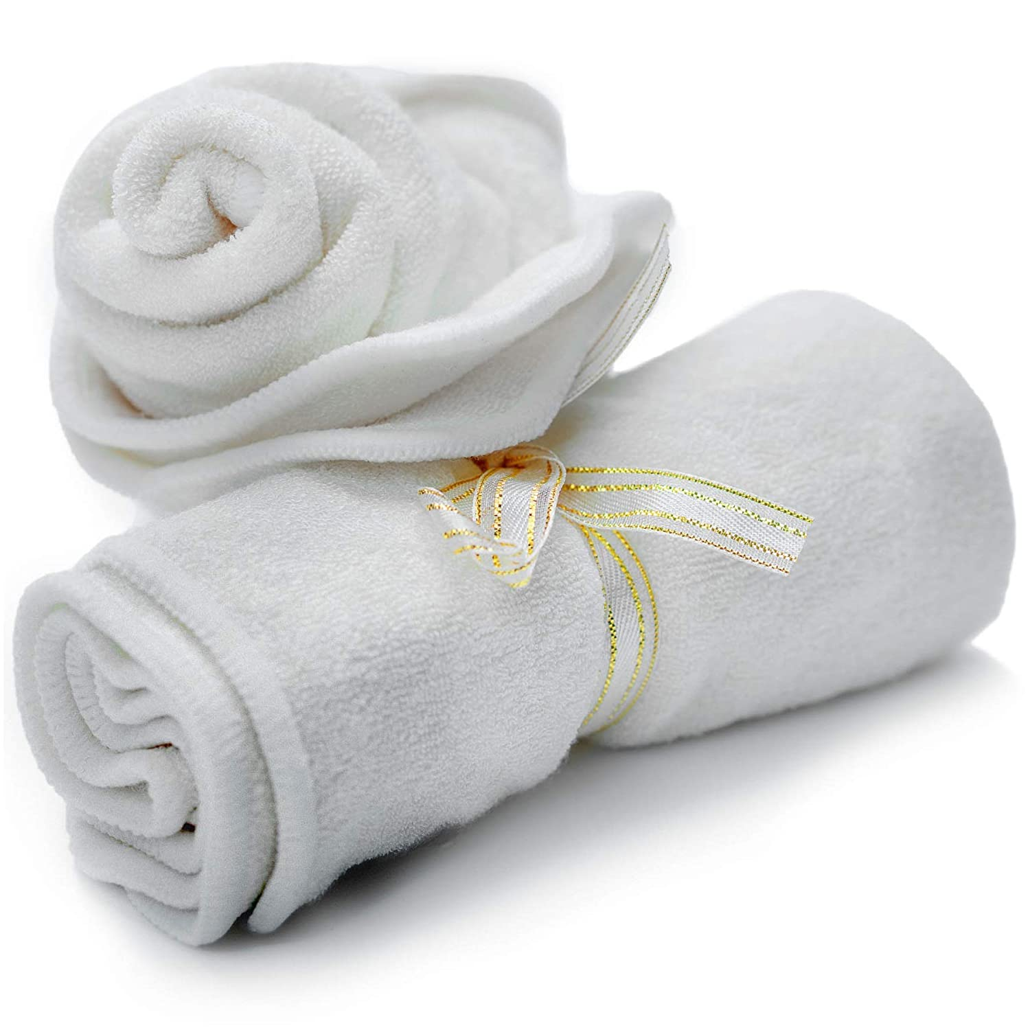 Smiling Gaia Baby Washcloths Made from Organic Bamboo 2 Pack Soft Luxurious Eco Wash Cloth Set is Perfect for Babies Sensitive Skin Thick Reusable Baby Wipes Generously Sized at 10.2 Inches