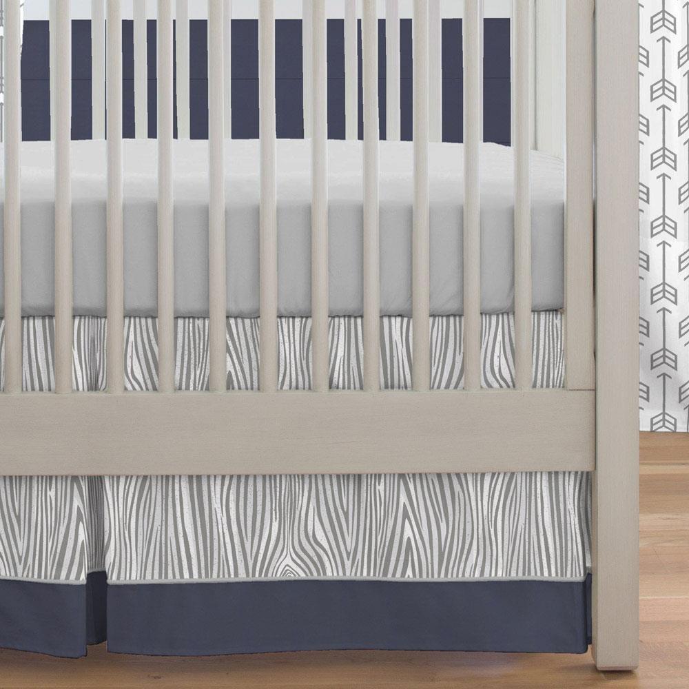 Carousel Designs Gray and Navy Deer Crib Skirt Box Pleat 20-Inch Length