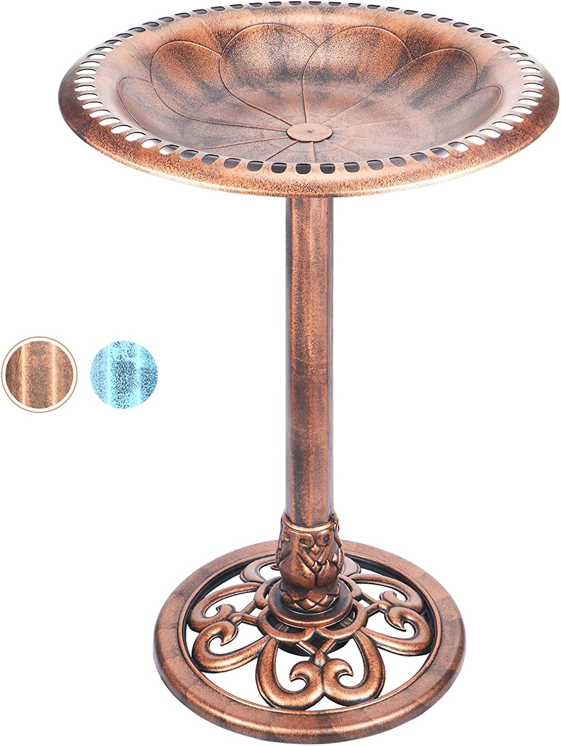 DREAM GARDEN 28 Inch Height Polyresin Birdbaths Lightweight Antique Outdoor Garden Pedestal Bird Bath Copper