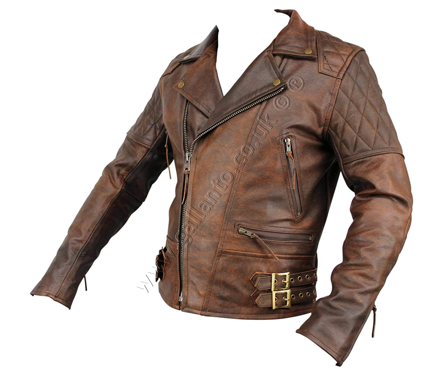 d61beada244 Gallanto Vintage Brown Classic Diamond Armoured Motorcycle Biker Leather  Jacket (S)  Amazon.co.uk  Clothing