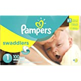 Pampers Swaddlers Disposable Diapers Newborn Size 1 (8-14 lb), 100 Count, SUPER