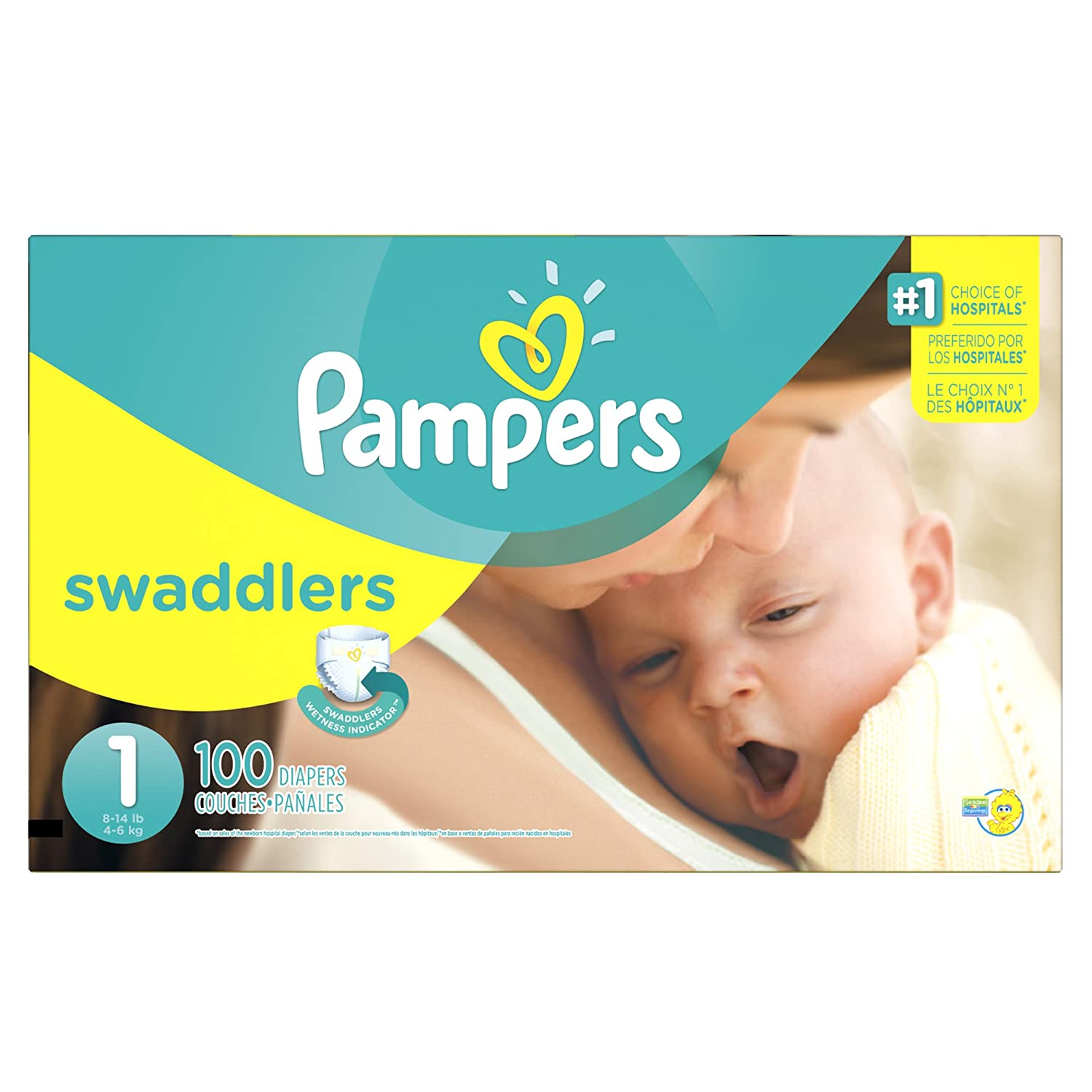 ec89fa42c9 Amazon.com: Pampers Swaddlers Disposable Diapers Newborn Size 1 (8-14 lb),  100 Count, SUPER: Health & Personal Care