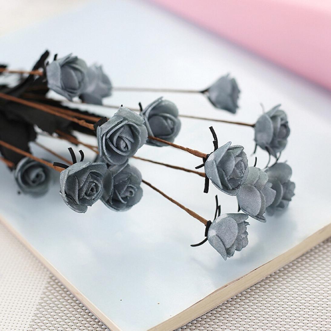 ホットセール。クリアランスシミュレーション花、neartime人工PEフェイク花ローズ花柄ウェディングブーケブライダル紫陽花Decor ブルー NE B07DPFSC6M グレー
