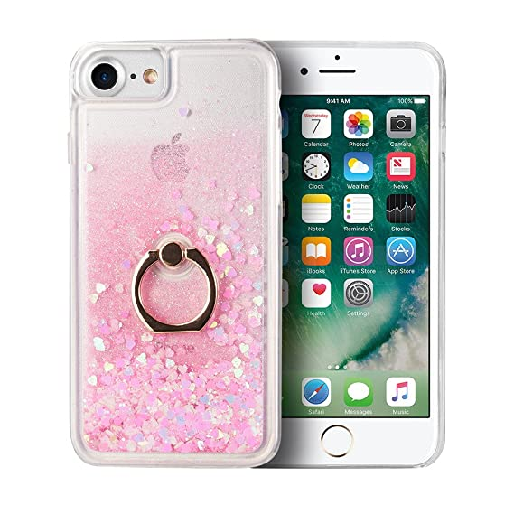 new arrival 57f6e dca0f Quicksand Phone Case for iPhone 8 Plus 7 Plus, LUXMO Glitter Quicksand  Liquid Cover Sparkle Moving Stars Waterfall Shockproof Shell with Ring ...