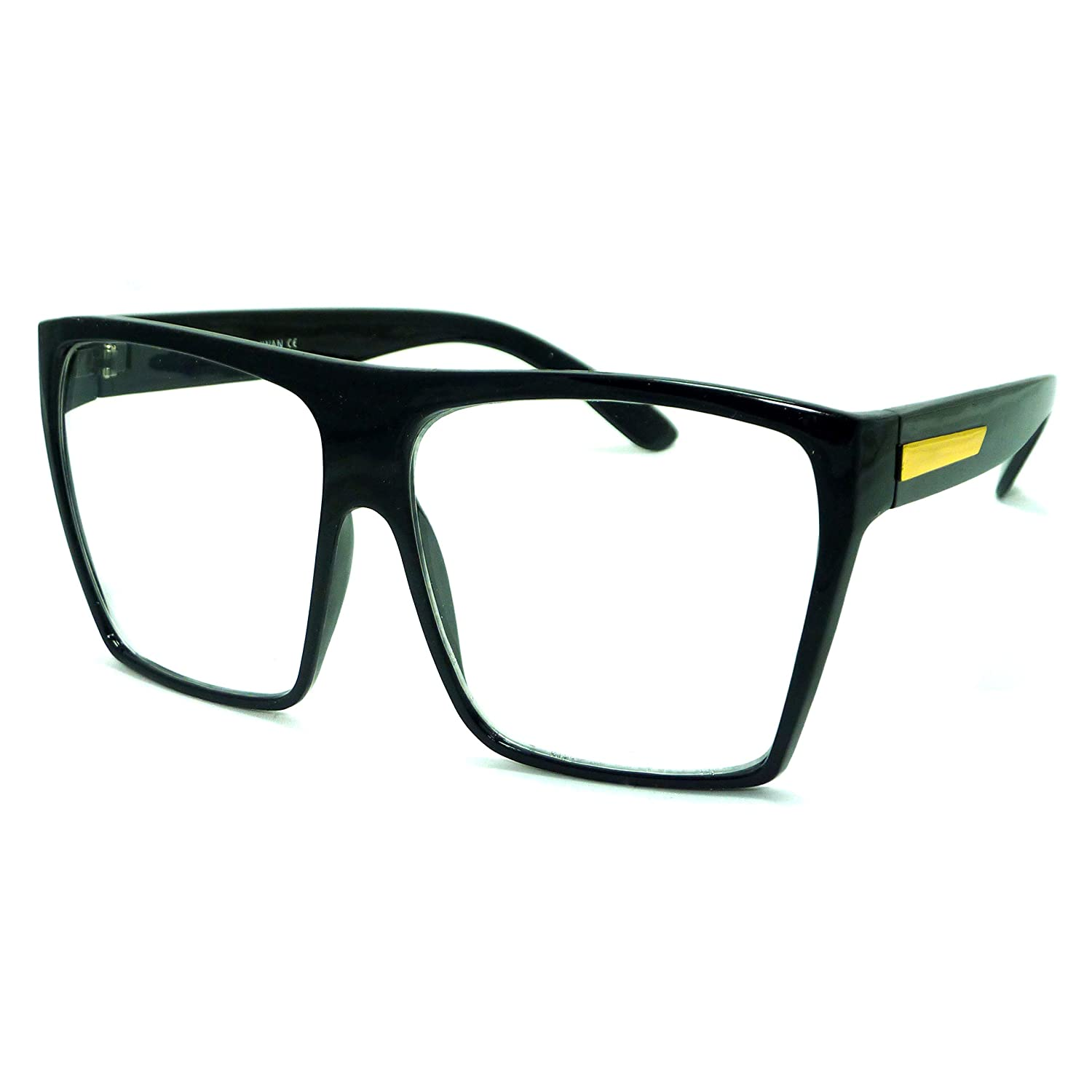RETRO Super Oversized Square Frame Clear Lens Eye Glasses BLACK/GOLD