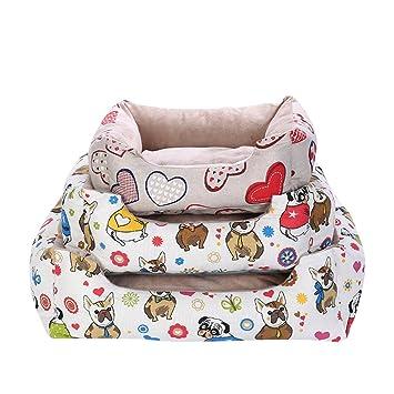 Cama Para Perro Lavable Mascotas Medianos y Pequeños Cachorros Corazón S