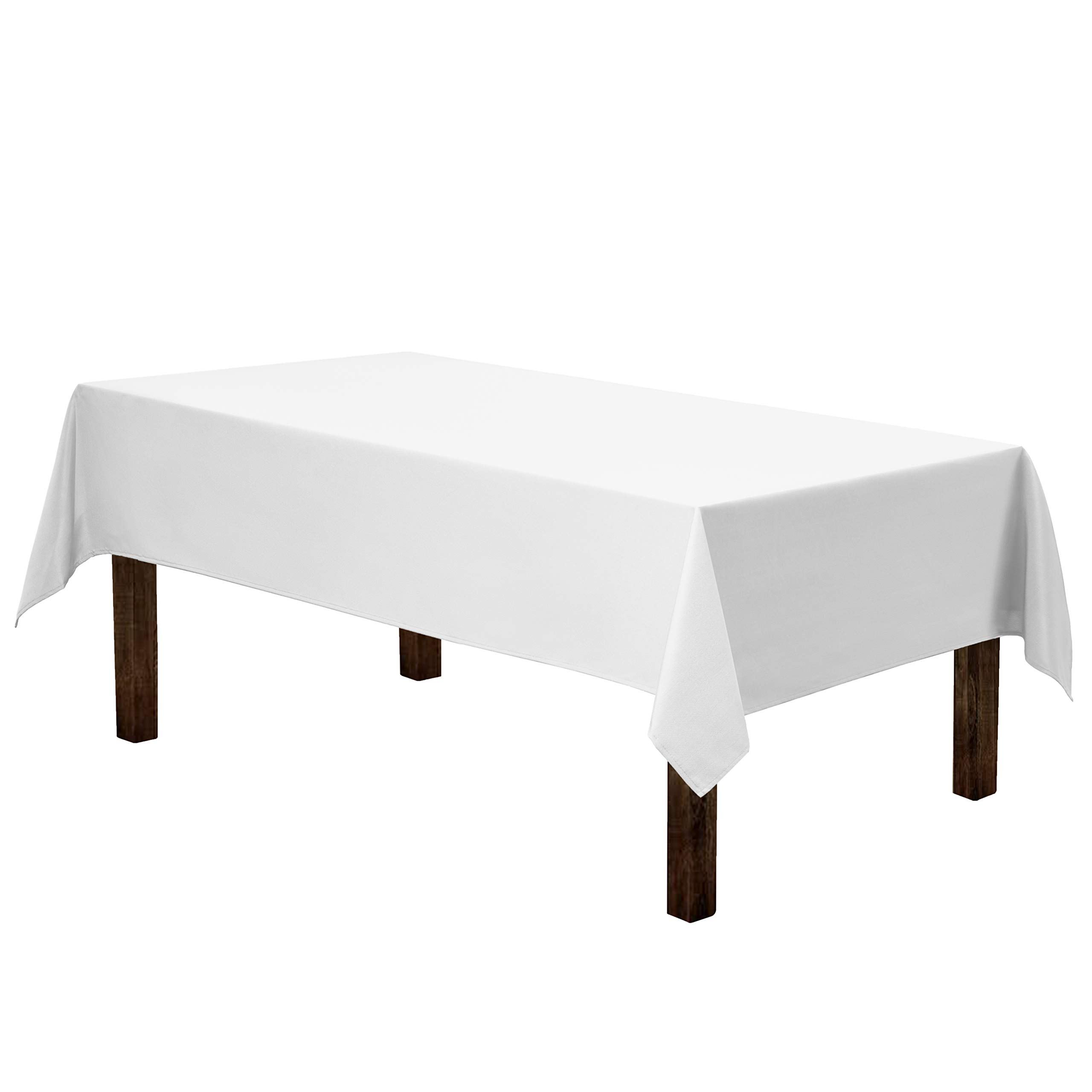Gee Di Moda Rectangle Tablecloth - 60 x 84 Inch - White Rectangular Table Cloth for 5 Foot Table in Washable Polyester - Great for Buffet Table, Parties, Holiday Dinner, Wedding & More by Gee Di Moda