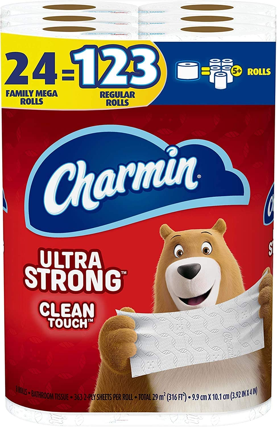 Charmin Ultra Strong Clean Touch Toilet Paper, 24 Family Mega Rolls = 123 Regular Rolls: Health & Personal Care