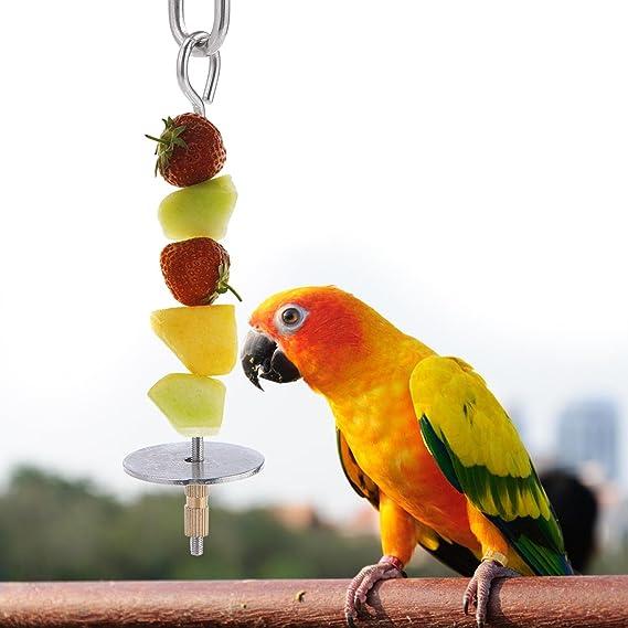 Aolvo Parrot Foraging Toys, acero inoxidable pájaros pinchos verduras frutas tratamiento juguete, comida palo de carne colgante soporte comedero para Parrot ...