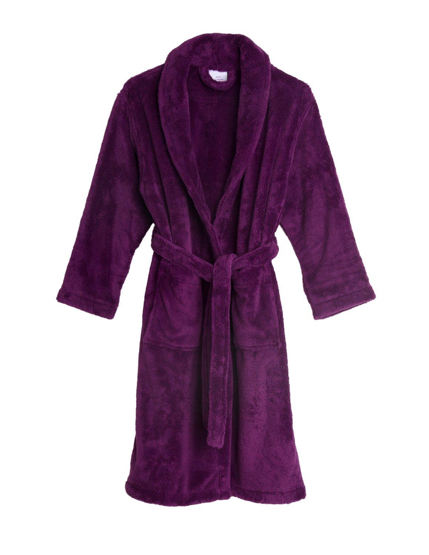 TowelSelections Big Girls' Robe, Kids Plush Shawl Fleece Bathrobe Size 12 Sparkling Grape