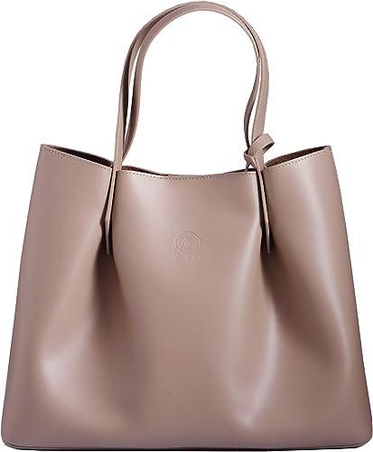 Handtasche Leder Shopper große Ledertasche Damen Tasche Taupe
